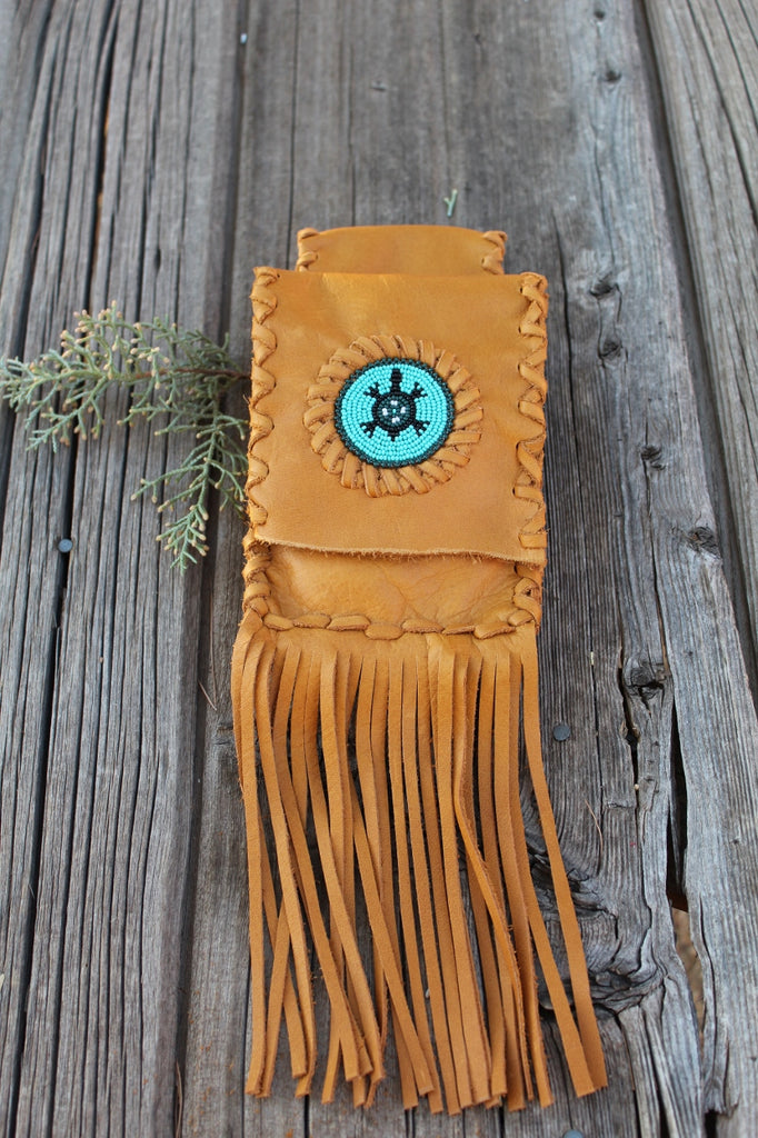 Leather belt bag with beaded turtle, fringed leather phone bag