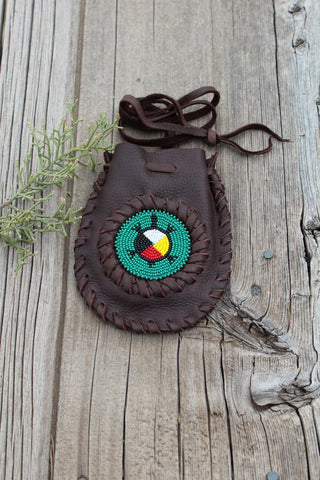 Beaded turtle, four directions medicine bag, leather medicine bag