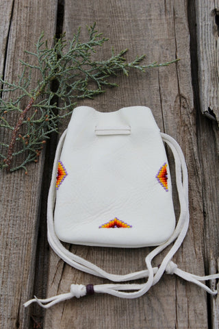 Beaded amulet bag, buckskin leather pouch, mojo bag