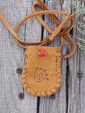 Leather medicine bag,  bear paw totem bag