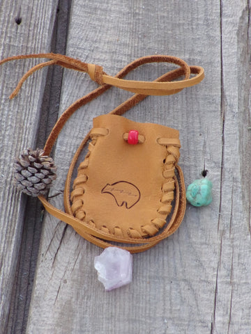 Bear totem medicine bag, leather pouch