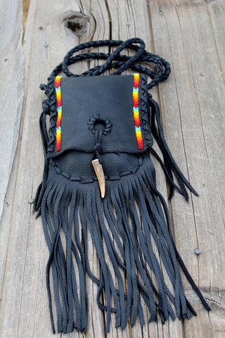 Black beaded handbag, fringed leather purse, crossbody bag