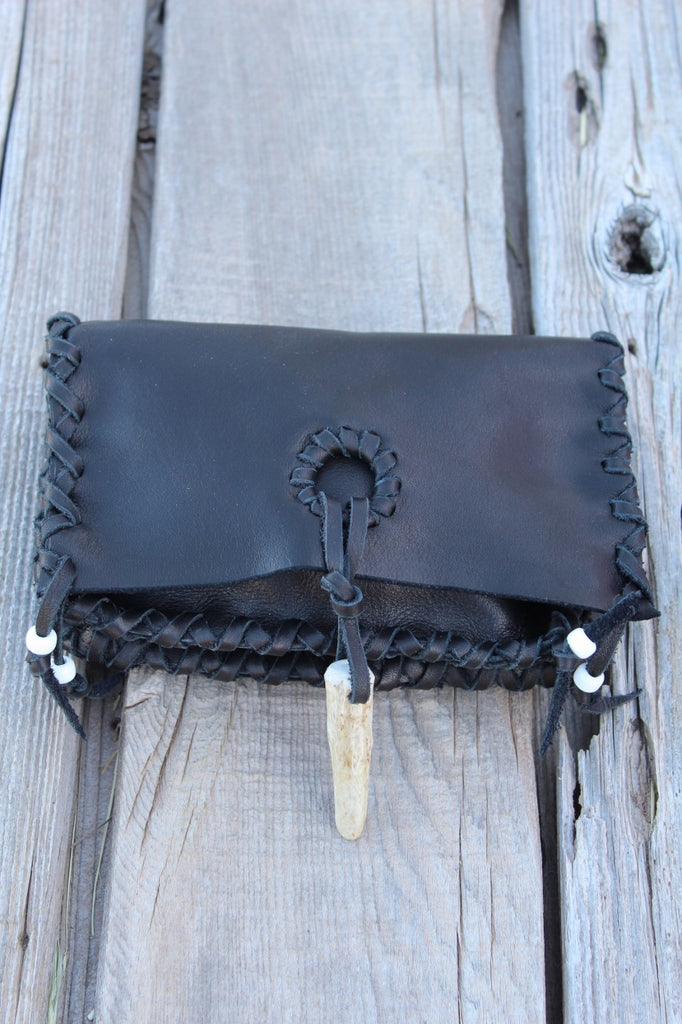 Black leather clutch, leather wallet