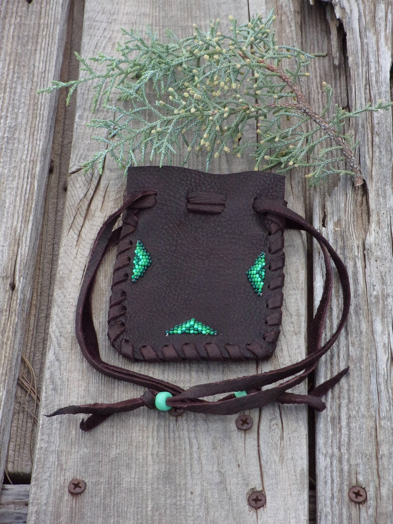 Beaded medicine bag, leather drawstring pouch