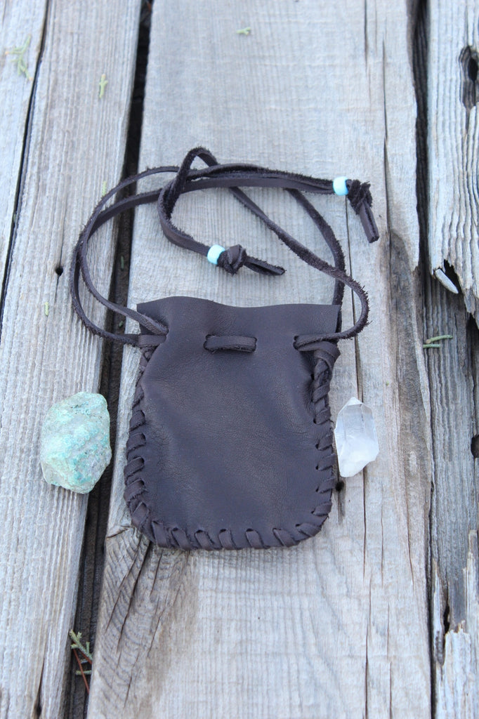 Leather drawstring pouch, brown leather crystal pouch, amulet bag