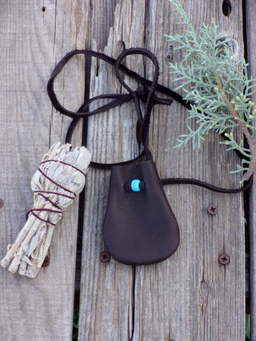 Brown medicine bag, leather necklace bag
