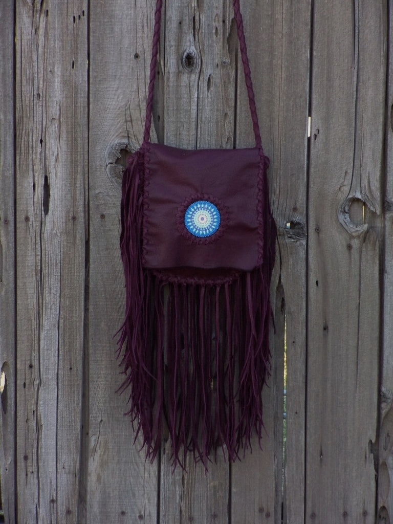 Beaded burgundy boho handbag , fringed leather purse