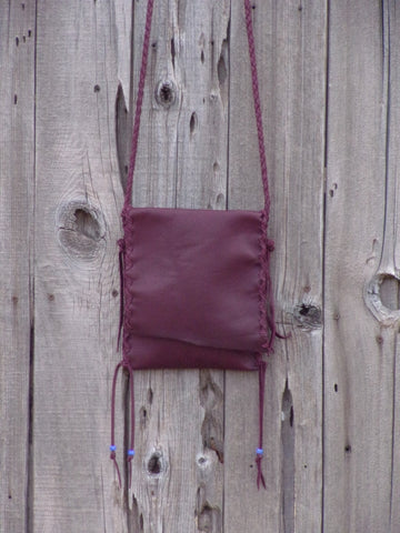Handmade leather handbag in burgundy , simple crossbody bag , phone bag