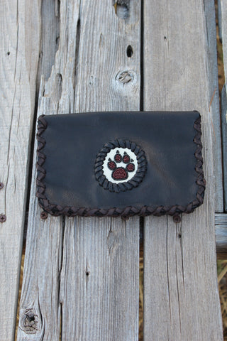 Leather phone case, beaded wolf paw phone case