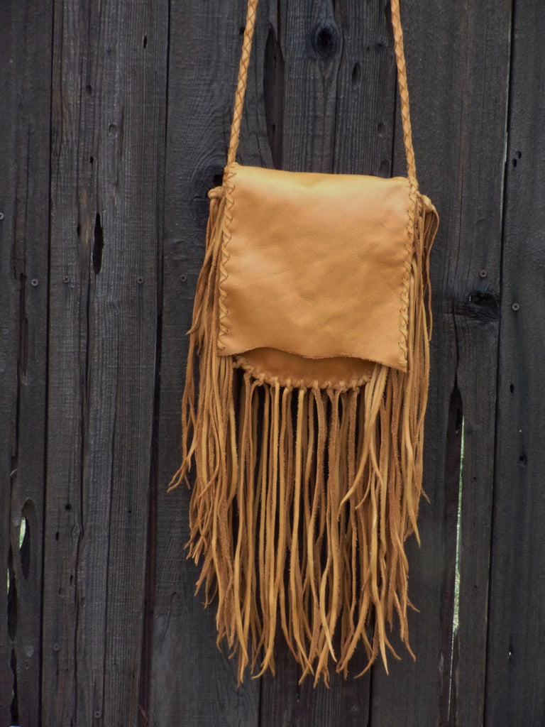 Fringed boho leather handbag, gypsy style bag