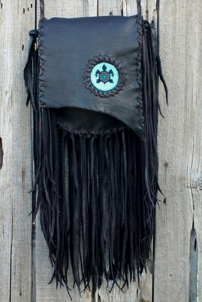 Boho beaded turtle bag with lots of fringe