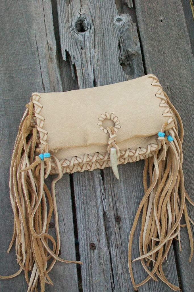 Leather clutch with fringe , handmade leather clutch