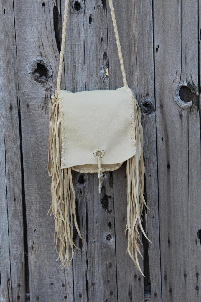 Crossbody leather handbag with fringe , Fringed leather purse , Leather possibles bag