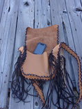 Leather crossbody handbag with fringe, leather boho purse