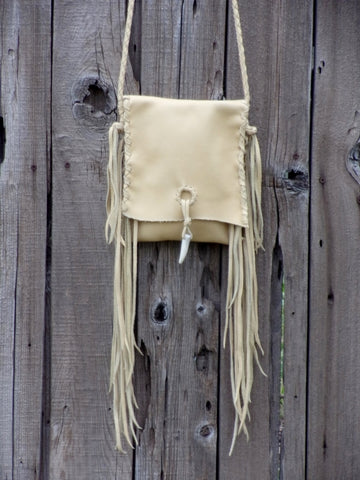 Fringed leather handbag, simple crossbody bag