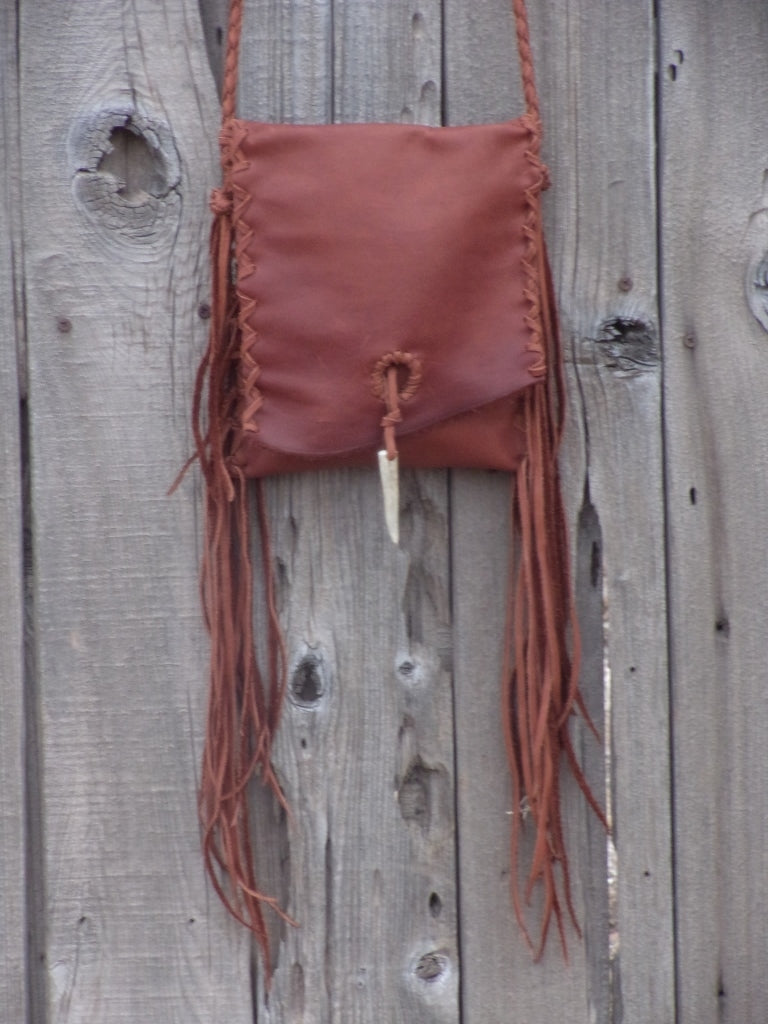 Fringed leather crossbody handbag , festival bag