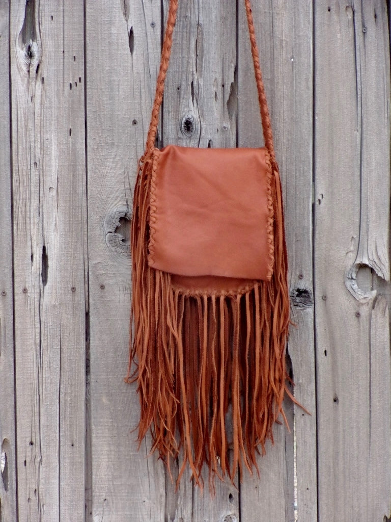Fringed leather handbag, possibles bag