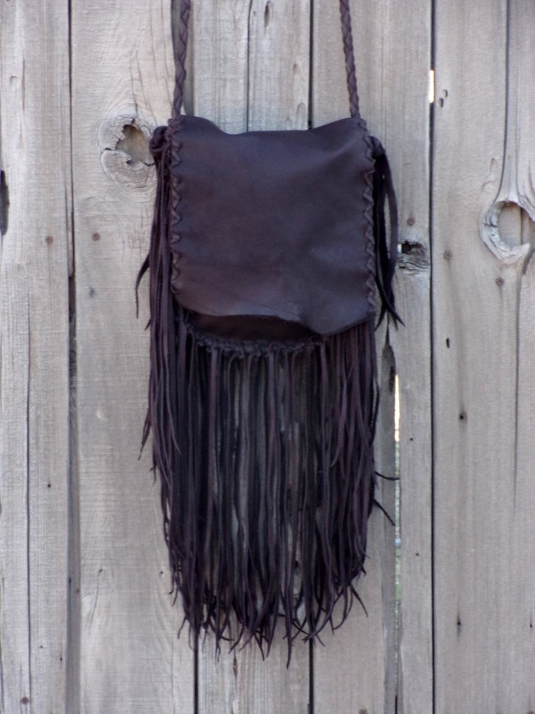 Fringed leather bag, boho handbag , handmade fringed purse