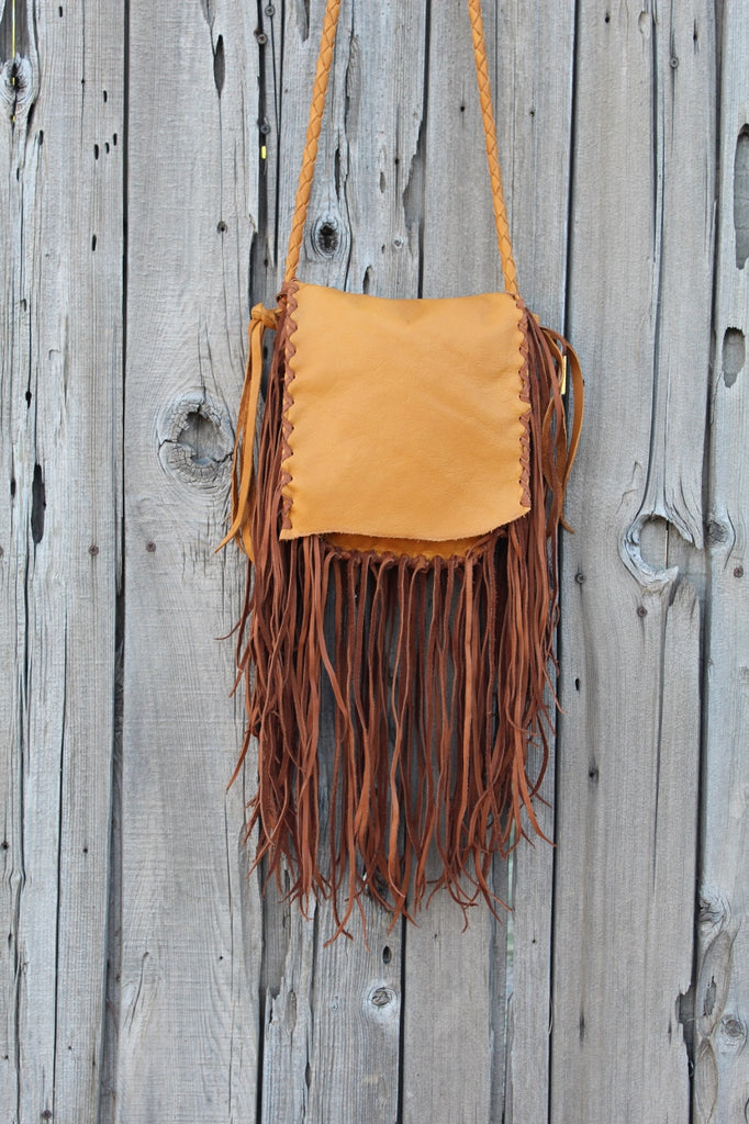 Fringed boho handbag, leather purse