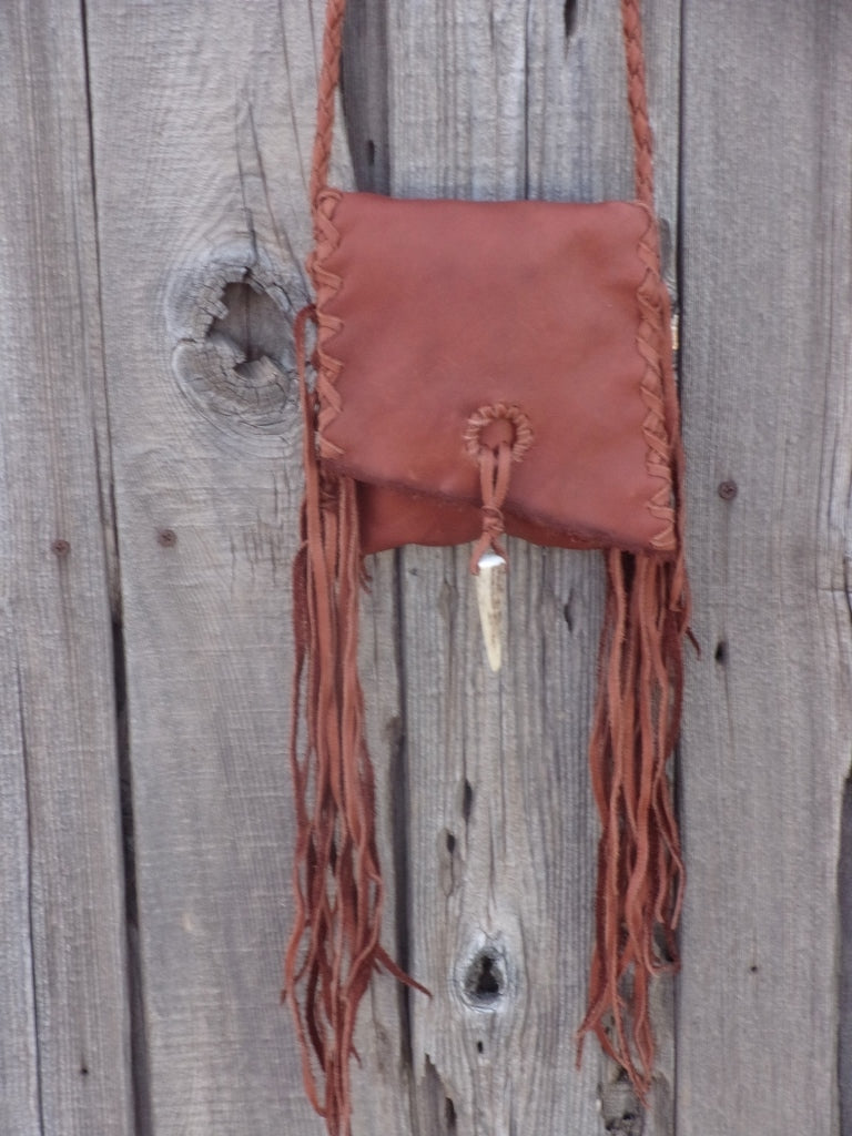 Small leather handbag , Crossbody leather phone bag , Fringed leather bag