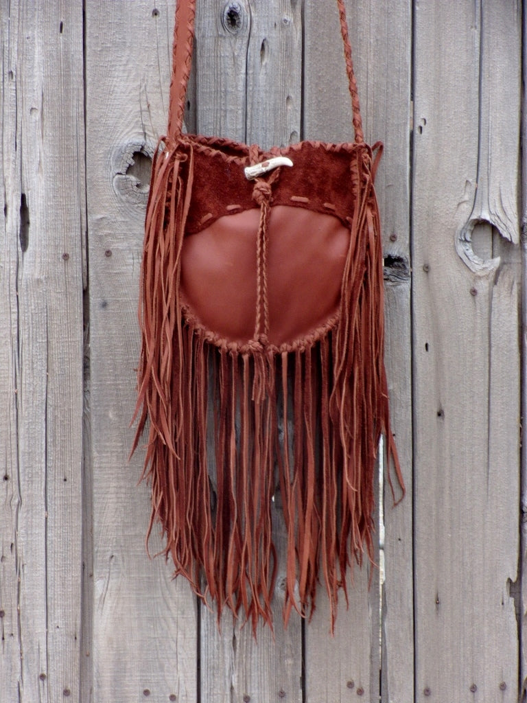 Fringed leather tote, gypsy boho leather tote