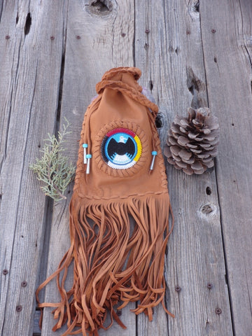 Fringed medicine bag , cedar bag , beaded eagle, 4 directions medicine wheel , made to order