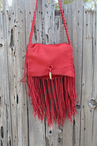 Fringed red leather handbag, soft leather bag
