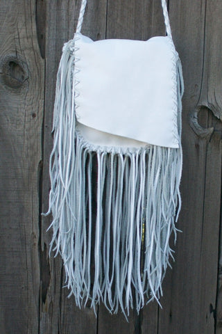 White leather handbag , bohemian purse