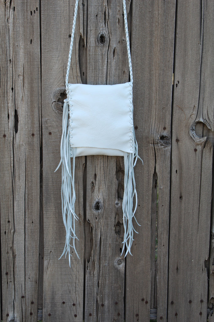 Fringed white leather handbag, crossbody purse, summer purse