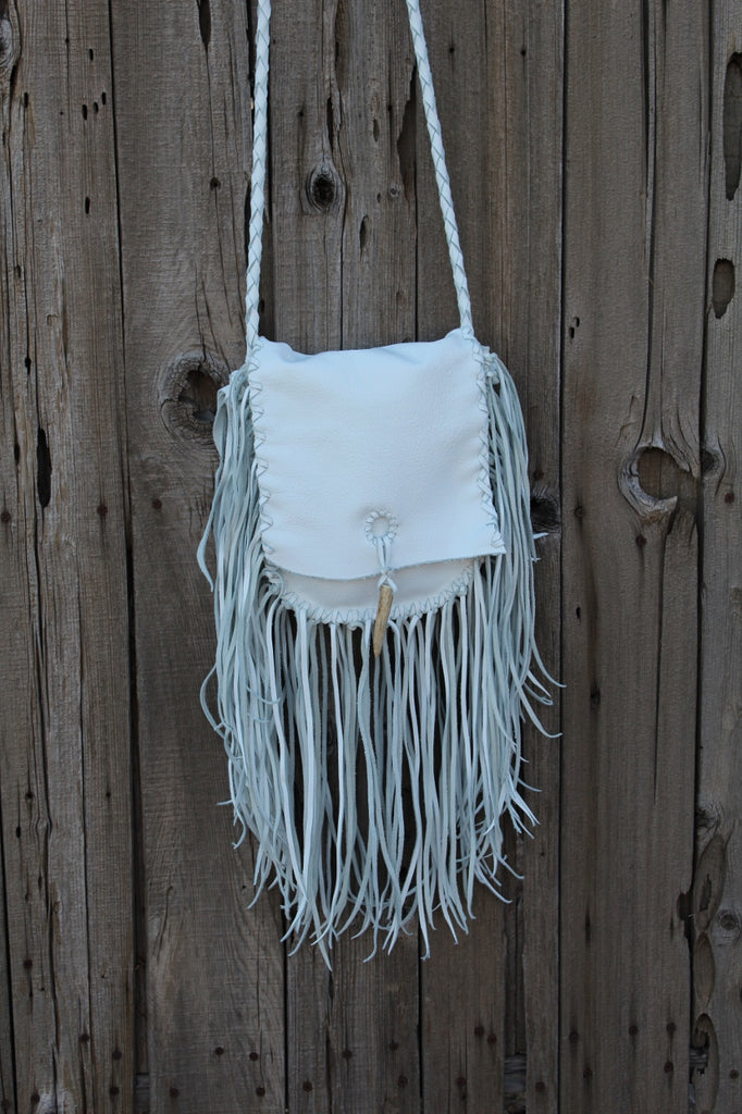 Fringed white leather handbag, boho style purse, leather bag