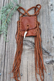 Fringed leather amulet bag, necklace bag