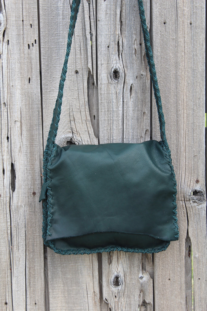 Green leather handbag, crossbody bag