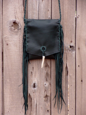 green leather fringed purse, leather phone bag, festival bag