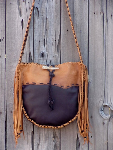 Handmade leather tote, fringed tote
