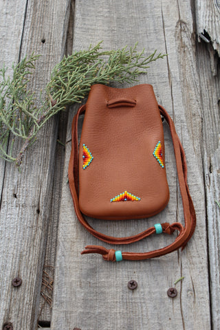 Leather medicine bag, beaded drawstring pouch