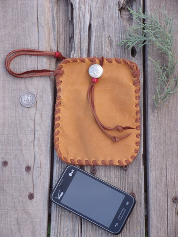 Leather phone bag , wrist bag