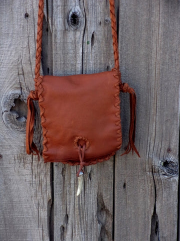 Leather possibles bag, small rust leather bag, mountain man bag