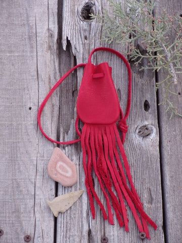 Red leather crystal bag ,  Fringed leather medicine bag , Leather neck pouch