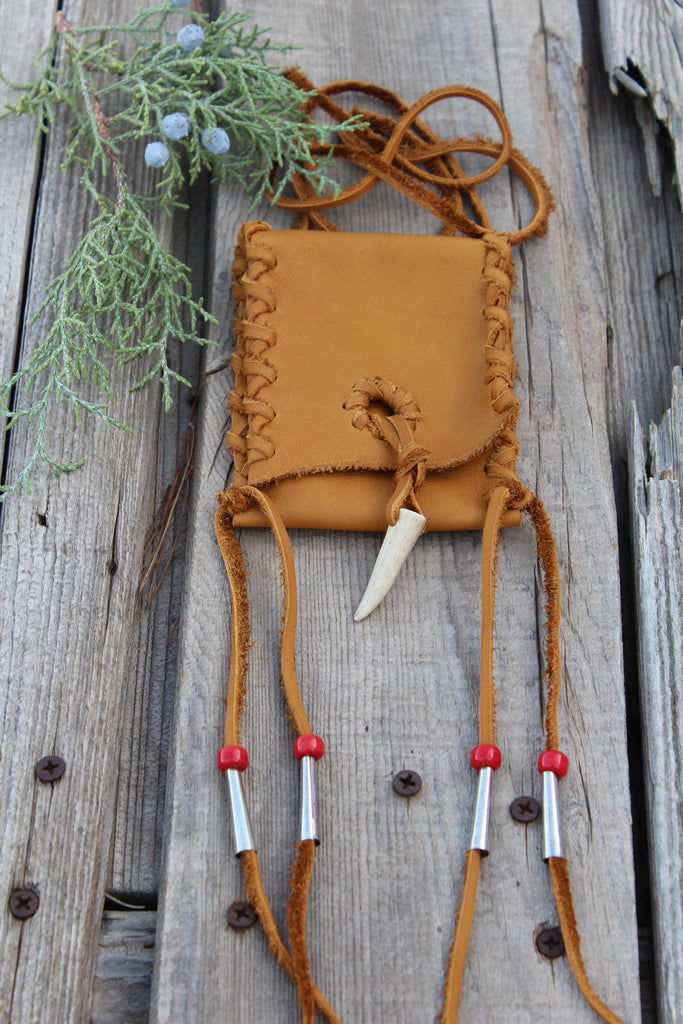 Leather necklace bag, medicine bag