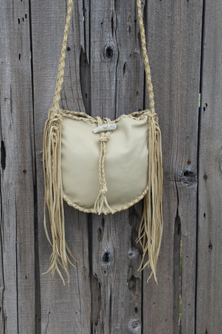 Leather tote handbag , fringed leather tote