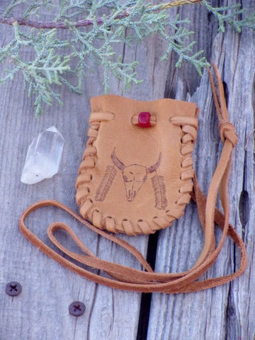 Handmade leather medicine bag , buffalo medicine pouch , buffalo eagle feather totem