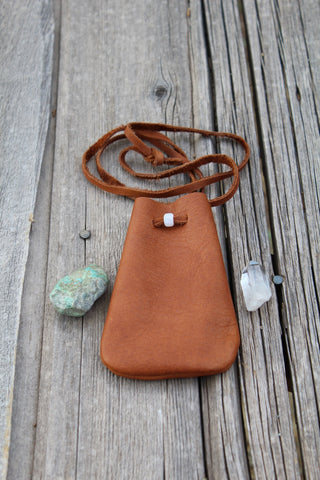 leather medicine bag , necklace bag