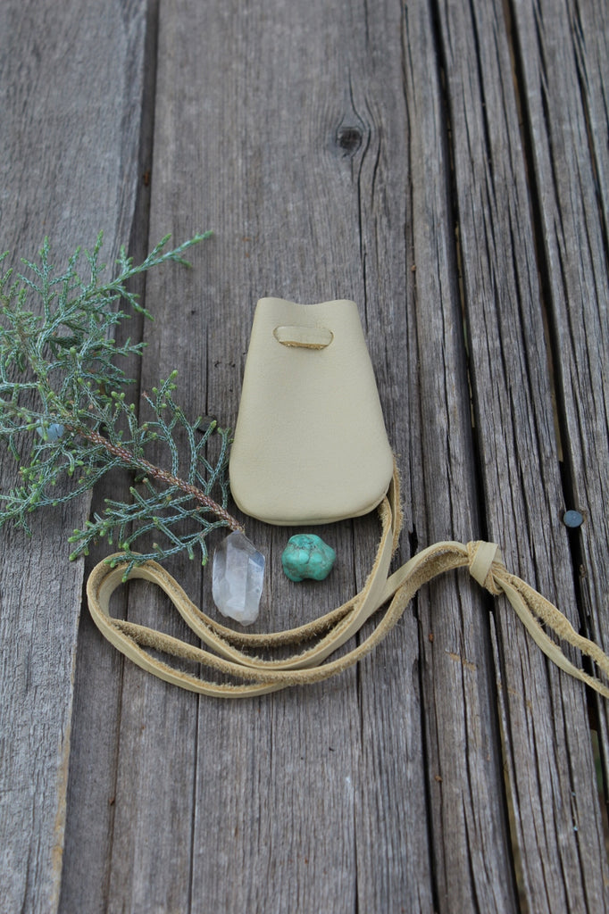Leather necklace bag, medicine pouch