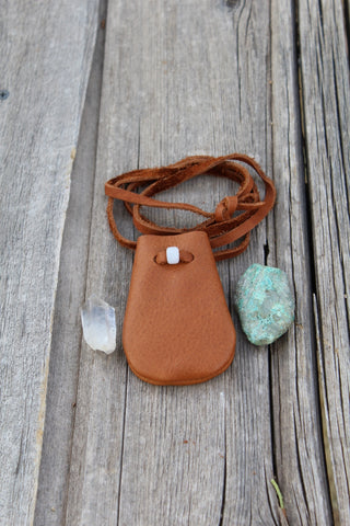 leather medicine pouch, necklace bag