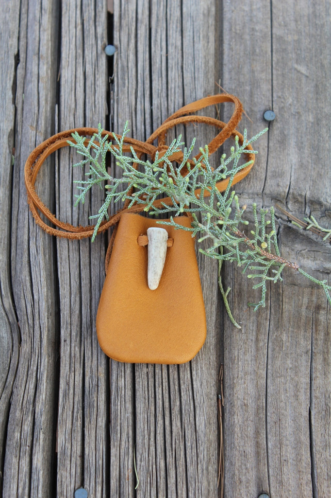 Leather medicine bag, small pouch