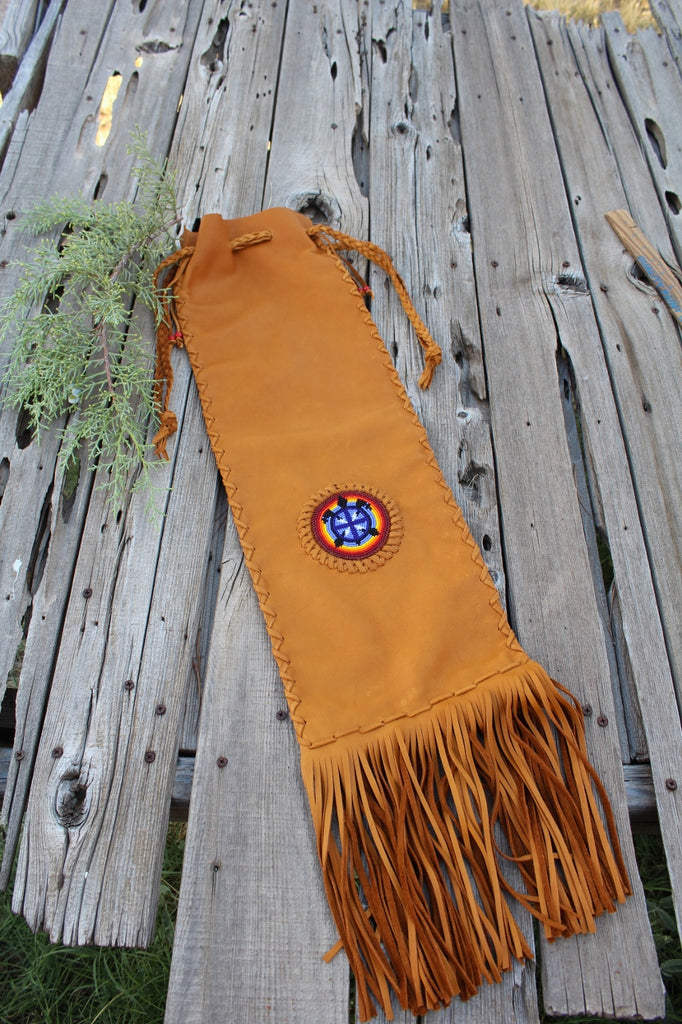 Leather pipe bag with beaded turtle , fringed chanupa bag