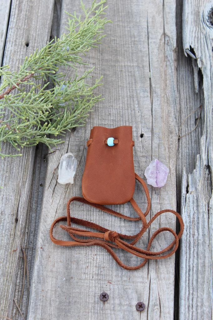 leather medicine bag, small amulet bag, crystal pouch