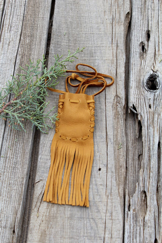Fringed leather medicine bag, necklace amulet pouch