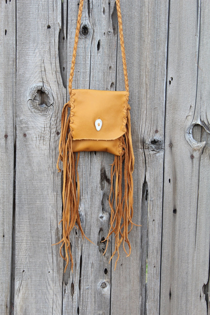 fringed leather handbag, crossbody bag, tan leather purse