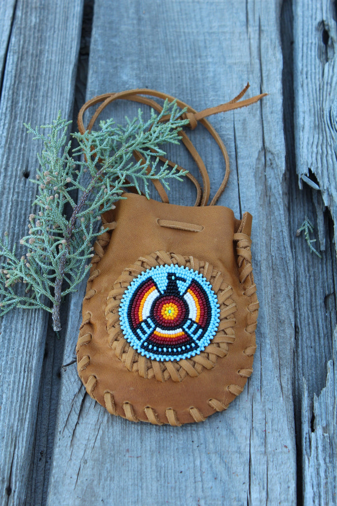 Beaded Thunderbird medicine bag, amulet bag